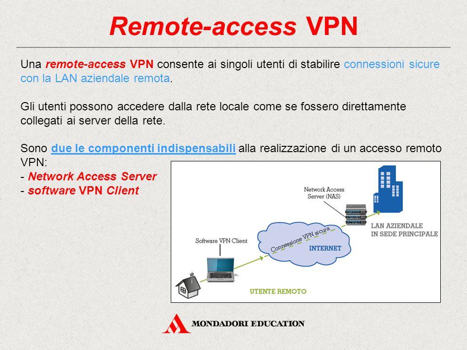 Remote-access VPN Una remote-access VPN consente ai singoli utenti di stabilire connessioni sicure con la LAN aziendale remota. Gli utenti possono acc