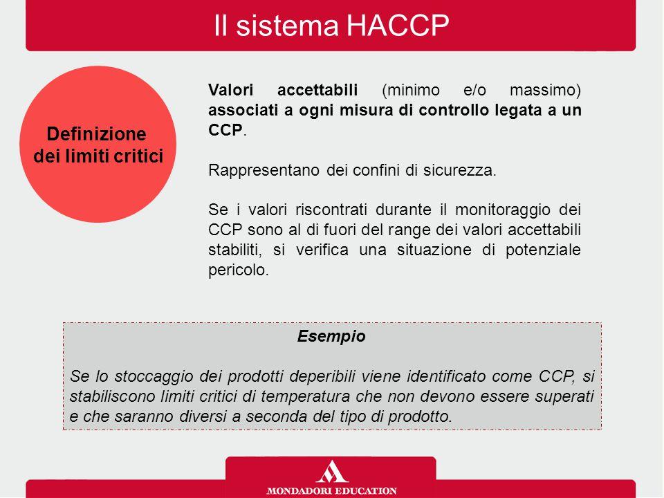 Il sistema HACCP Valori accettabili (minimo e/o massimo) associati a ogni misura di controllo legata a un CCP. Rappresentano dei confini di sicurezza.