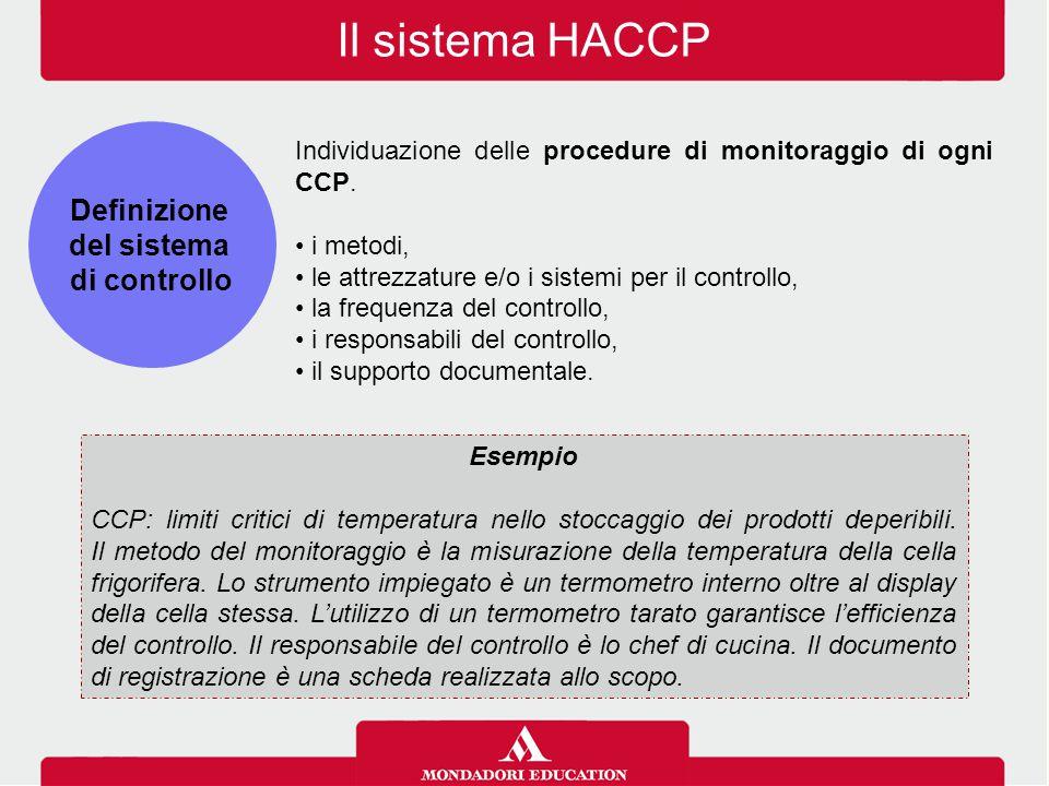 Il sistema HACCP Individuazione delle procedure di monitoraggio di ogni CCP. i metodi, le attrezzature e/o i sistemi per il controllo, la frequenza de