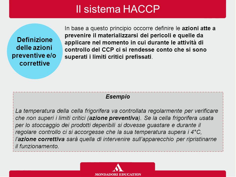 Il sistema HACCP In base a questo principio occorre definire le azioni atte a prevenire il materializzarsi dei pericoli e quelle da applicare nel mome