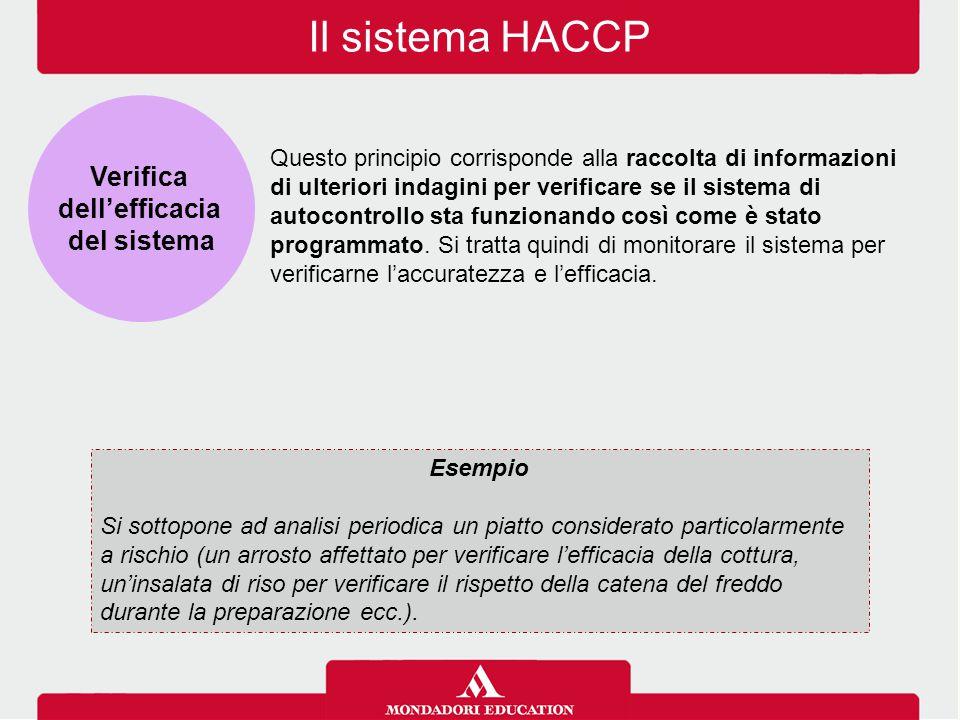 Il sistema HACCP Questo principio corrisponde alla raccolta di informazioni di ulteriori indagini per verificare se il sistema di autocontrollo sta fu