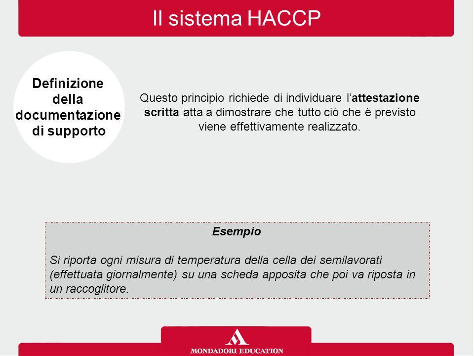 Il sistema HACCP Questo principio richiede di individuare l'attestazione scritta atta a dimostrare che tutto ciò che è previsto viene effettivamente r