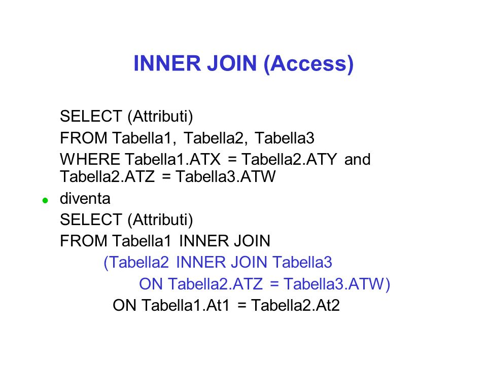 SELECT (Attributi) FROM Tabella1, Tabella2, Tabella3 WHERE Tabella1.ATX = Tabella2.ATY and Tabella2.ATZ = Tabella3.ATW l diventa SELECT (Attributi) FROM Tabella1 INNER JOIN (Tabella2 INNER JOIN Tabella3 ON Tabella2.ATZ = Tabella3.ATW) ON Tabella1.At1 = Tabella2.At2 INNER JOIN (Access)