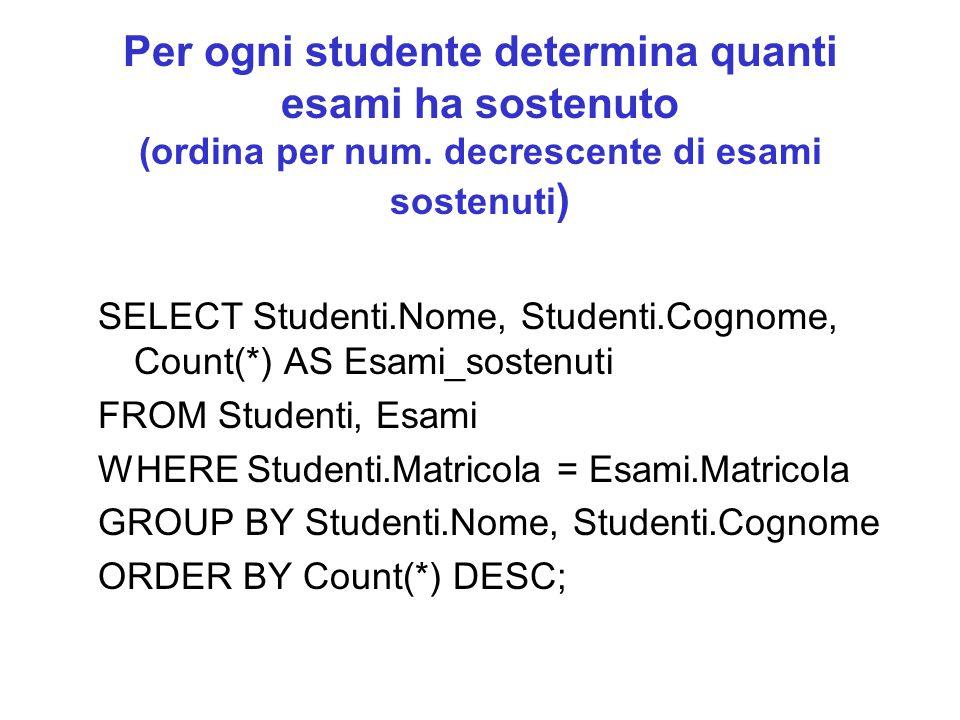 Per ogni studente determina quanti esami ha sostenuto (ordina per num.