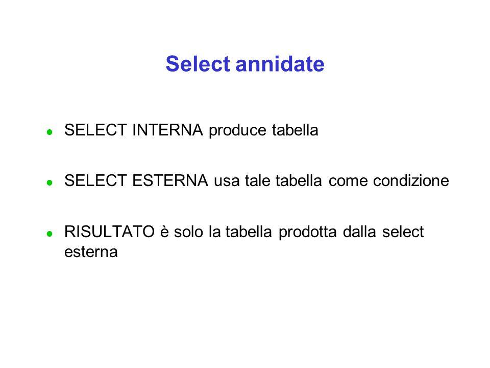 Select annidate l SELECT INTERNA produce tabella l SELECT ESTERNA usa tale tabella come condizione l RISULTATO è solo la tabella prodotta dalla select esterna