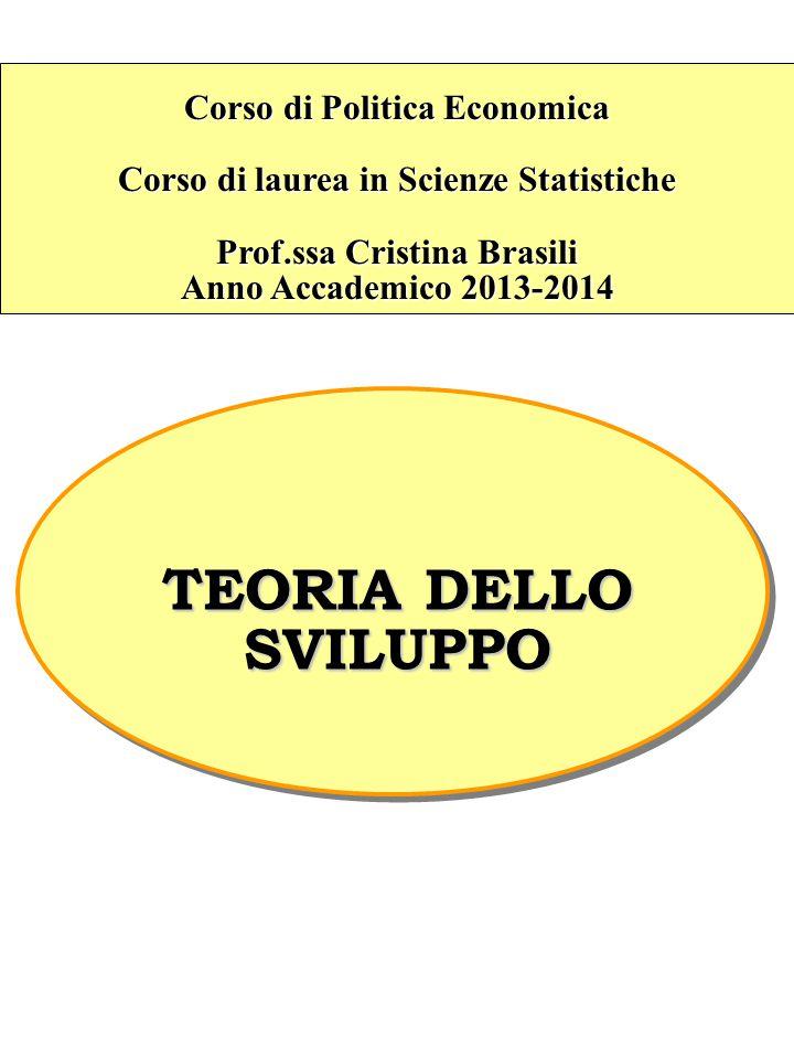 Corso di Politica Economica Corso di laurea in Scienze Statistiche Prof.ssa Cristina Brasili Anno Accademico 2013-2014 TEORIA DELLO SVILUPPO