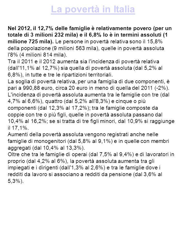 La povertà in Italia Nel 2012, il 12,7% delle famiglie è relativamente povero (per un totale di 3 milioni 232 mila) e il 6,8% lo è in termini assoluti (1 milione 725 mila).