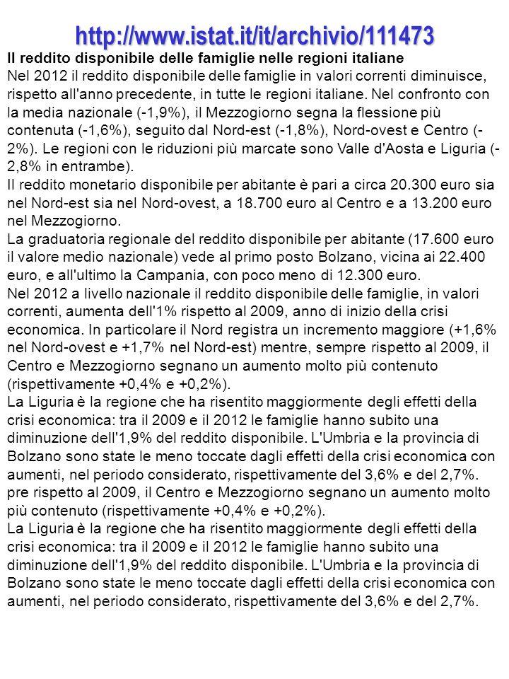 http://www.istat.it/it/archivio/111473 Il reddito disponibile delle famiglie nelle regioni italiane Nel 2012 il reddito disponibile delle famiglie in valori correnti diminuisce, rispetto all anno precedente, in tutte le regioni italiane.