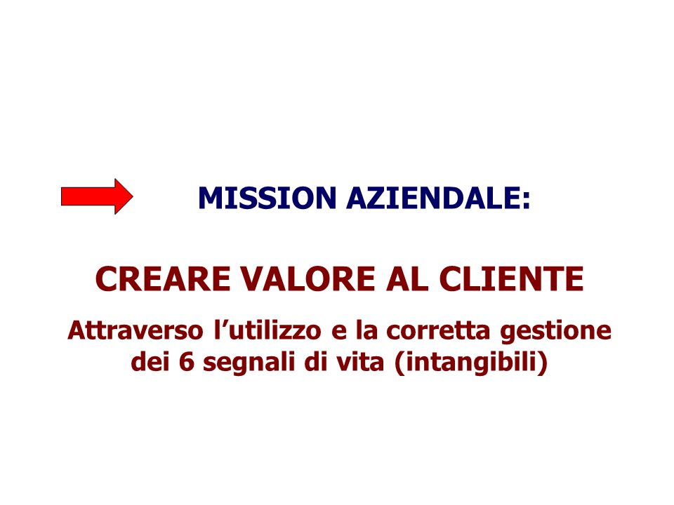 MISSION AZIENDALE: CREARE VALORE AL CLIENTE Attraverso l'utilizzo e la corretta gestione dei 6 segnali di vita (intangibili)