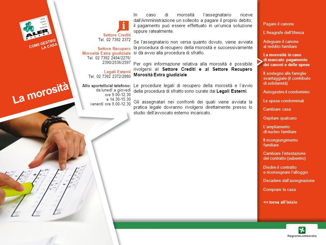 In caso di morosità l'assegnatario riceve dall'Amministrazione un sollecito a pagare il proprio debito; il pagamento può essere effettuato in un'unica