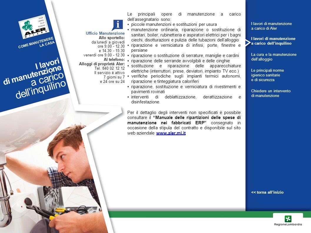 Le principali opere di manutenzione a carico dell'assegnatario sono: piccole manutenzioni e sostituzioni per usura manutenzione ordinaria, riparazione