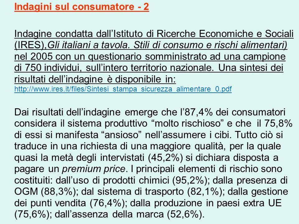 Indagini sul consumatore - 2 Indagine condatta dall'Istituto di Ricerche Economiche e Sociali (IRES),Gli italiani a tavola. Stili di consumo e rischi