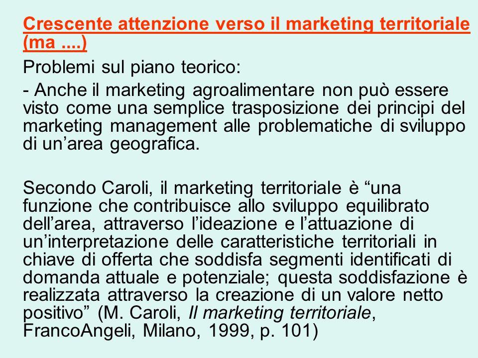 Crescente attenzione verso il marketing territoriale (ma....) Problemi sul piano teorico: - Anche il marketing agroalimentare non può essere visto come una semplice trasposizione dei principi del marketing management alle problematiche di sviluppo di un'area geografica.