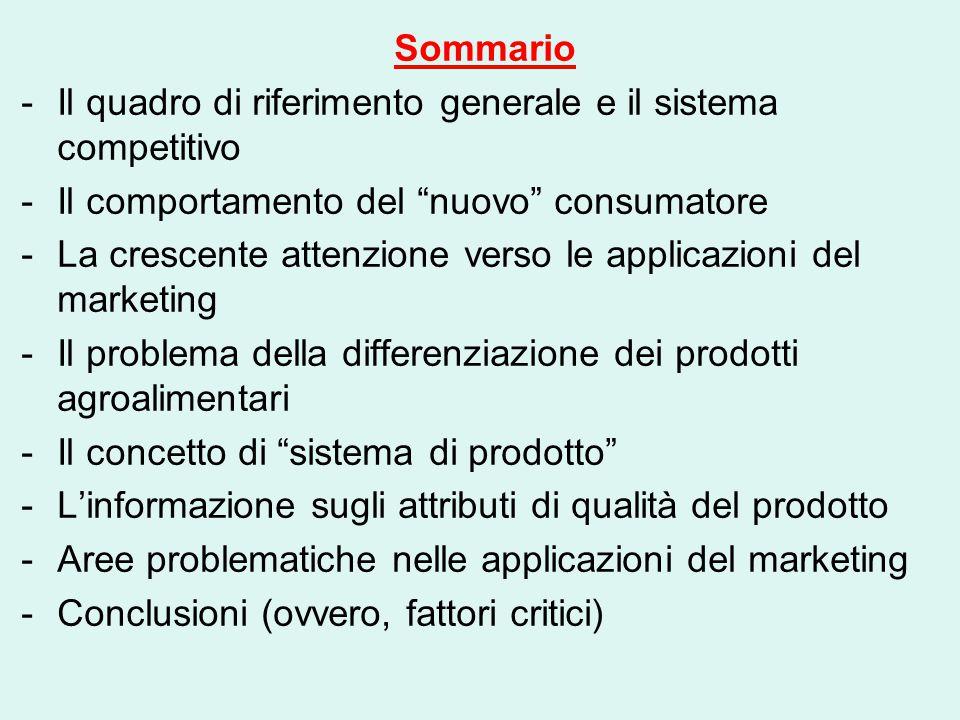 """Sommario -Il quadro di riferimento generale e il sistema competitivo -Il comportamento del """"nuovo"""" consumatore -La crescente attenzione verso le appli"""