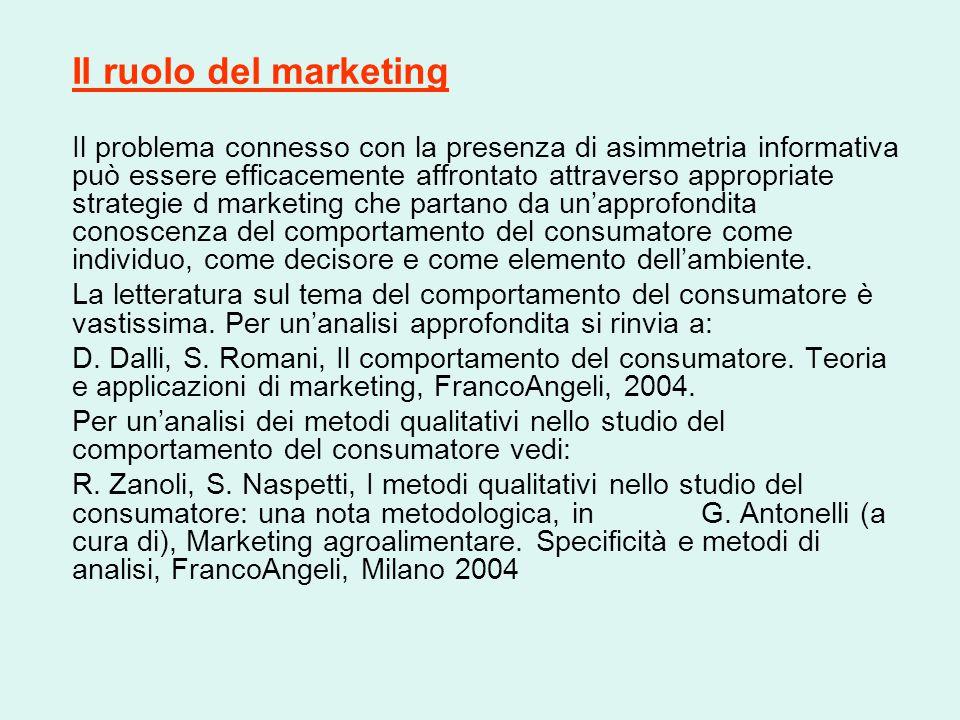 Il ruolo del marketing Il problema connesso con la presenza di asimmetria informativa può essere efficacemente affrontato attraverso appropriate strat