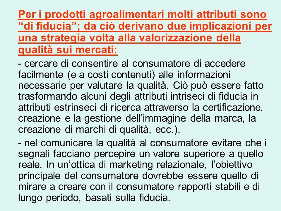 """Per i prodotti agroalimentari molti attributi sono """"di fiducia""""; da ciò derivano due implicazioni per una strategia volta alla valorizzazione della qu"""