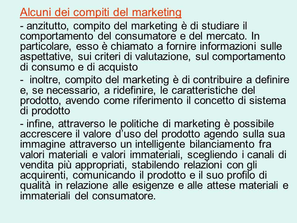 Alcuni dei compiti del marketing - anzitutto, compito del marketing è di studiare il comportamento del consumatore e del mercato. In particolare, esso