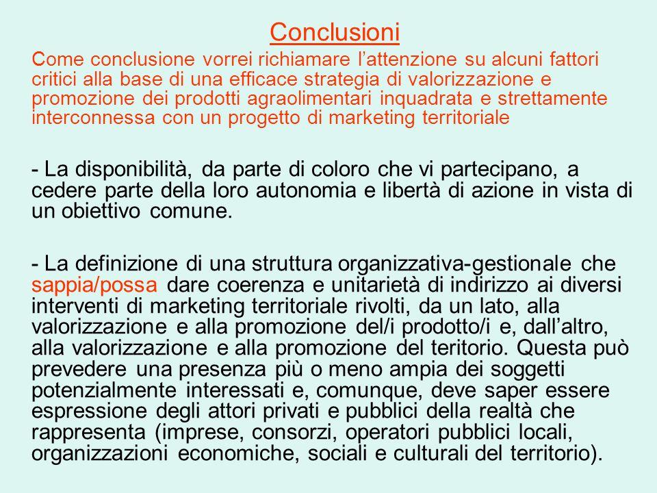 Conclusioni Come conclusione vorrei richiamare l'attenzione su alcuni fattori critici alla base di una efficace strategia di valorizzazione e promozio