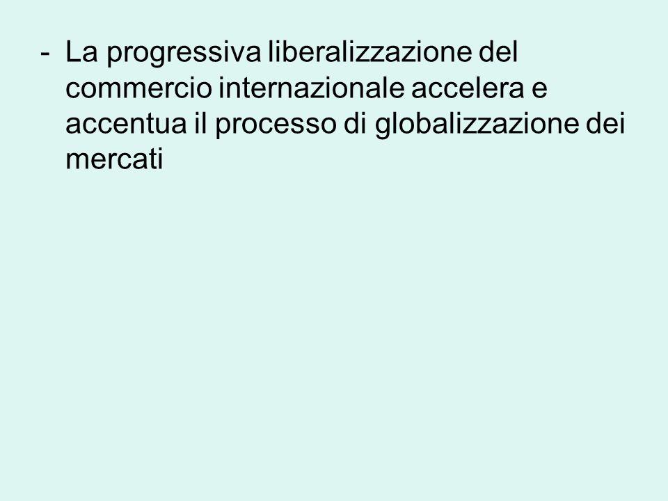 -La progressiva liberalizzazione del commercio internazionale accelera e accentua il processo di globalizzazione dei mercati