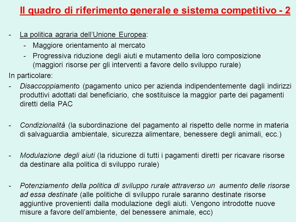 Il quadro di riferimento generale e sistema competitivo - 2 -La politica agraria dell'Unione Europea: -Maggiore orientamento al mercato -Progressiva r