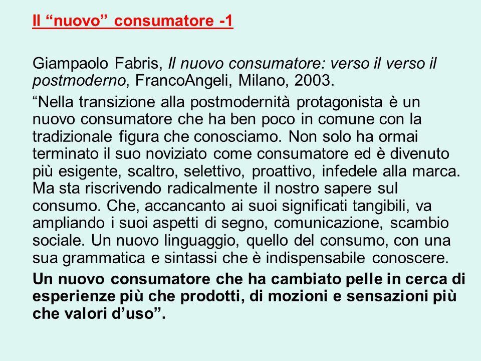 Il nuovo consumatore -1 Giampaolo Fabris, Il nuovo consumatore: verso il verso il postmoderno, FrancoAngeli, Milano, 2003.