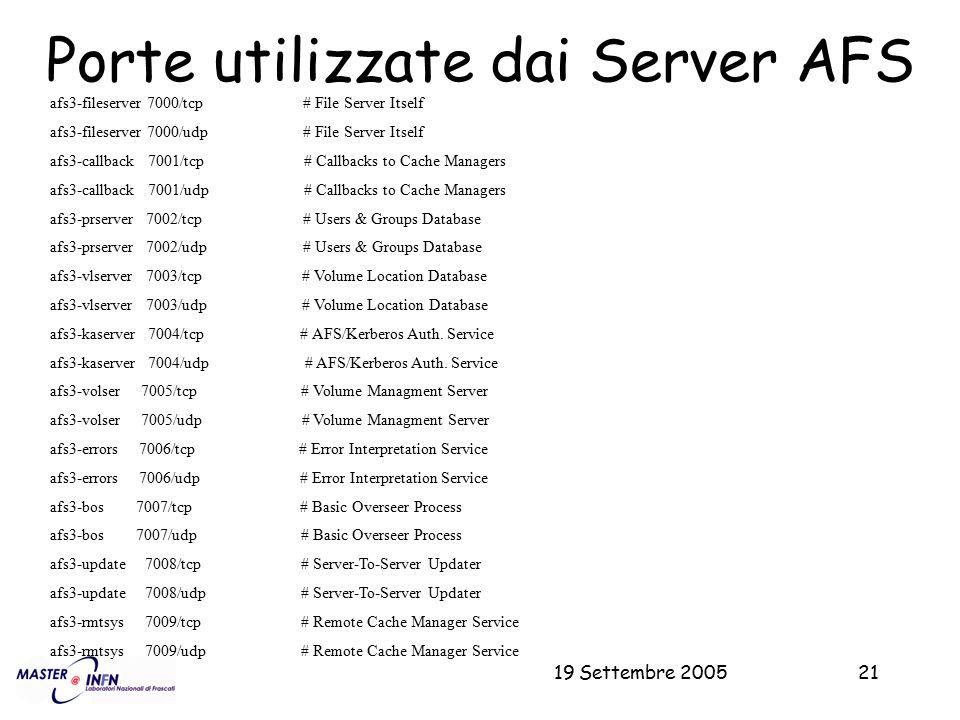 19 Settembre 200521 Porte utilizzate dai Server AFS afs3-fileserver 7000/tcp # File Server Itself afs3-fileserver 7000/udp # File Server Itself afs3-c