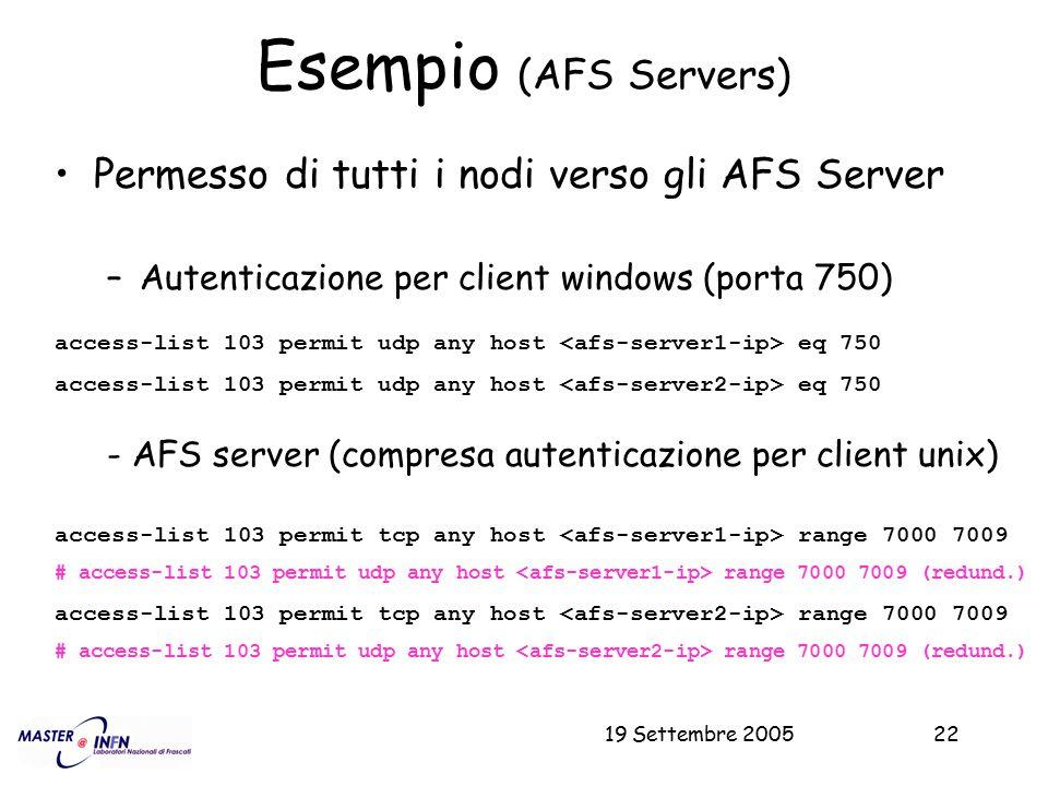 19 Settembre 200522 Esempio (AFS Servers) Permesso di tutti i nodi verso gli AFS Server –Autenticazione per client windows (porta 750) access-list 103
