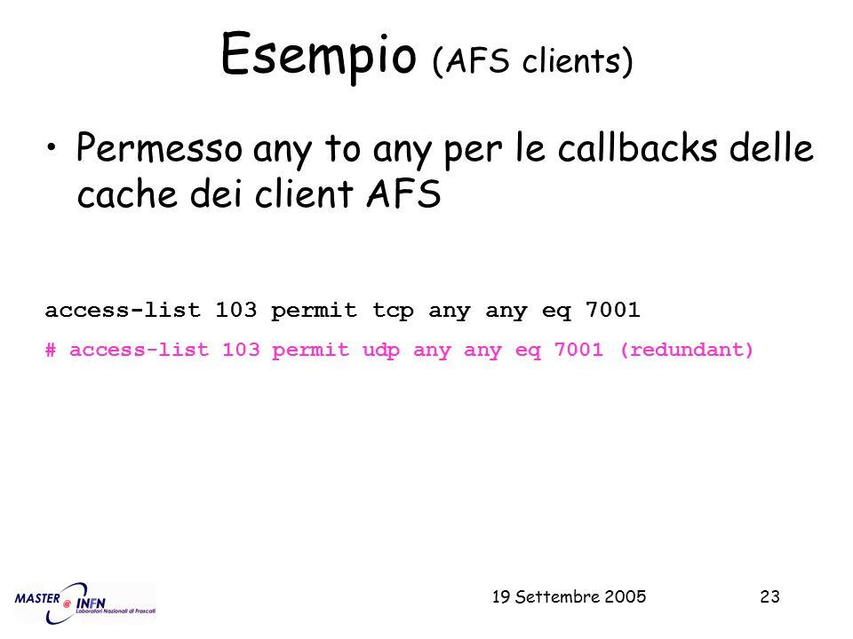 19 Settembre 200523 Esempio (AFS clients) Permesso any to any per le callbacks delle cache dei client AFS access-list 103 permit tcp any any eq 7001 #