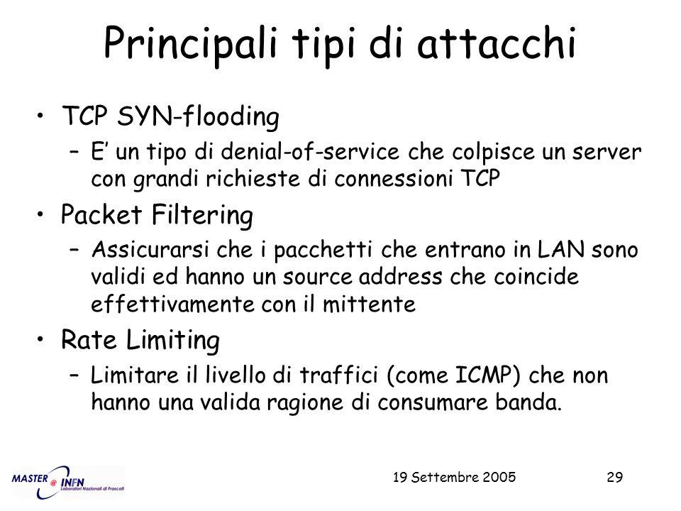 19 Settembre 200529 Principali tipi di attacchi TCP SYN-flooding –E' un tipo di denial-of-service che colpisce un server con grandi richieste di conne