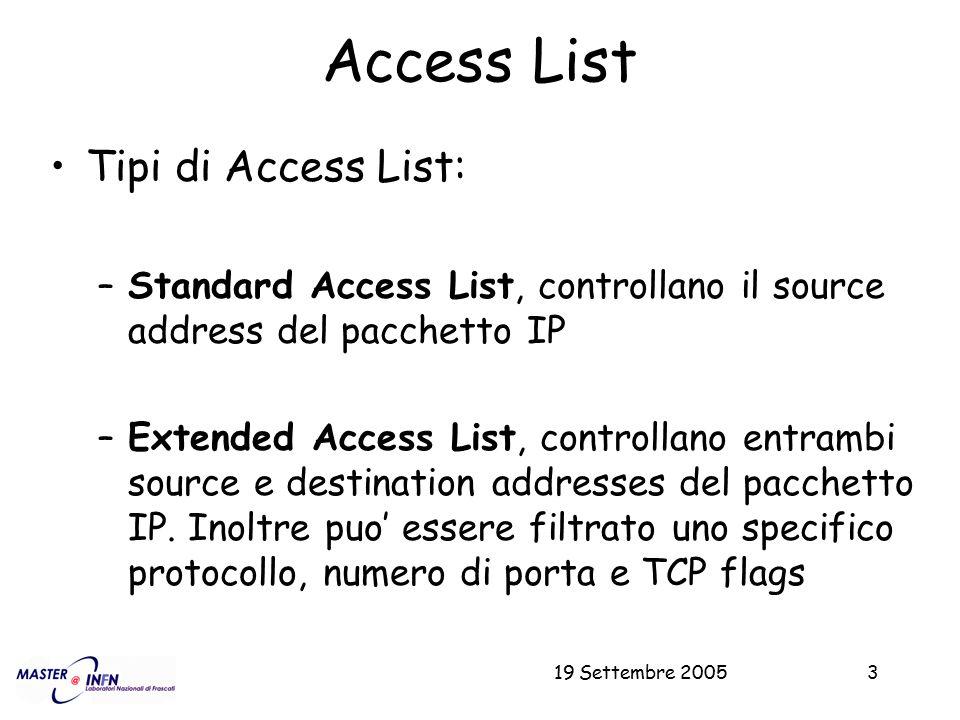19 Settembre 20053 Access List Tipi di Access List: –Standard Access List, controllano il source address del pacchetto IP –Extended Access List, contr