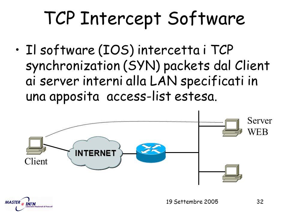 19 Settembre 200532 TCP Intercept Software Il software (IOS) intercetta i TCP synchronization (SYN) packets dal Client ai server interni alla LAN spec