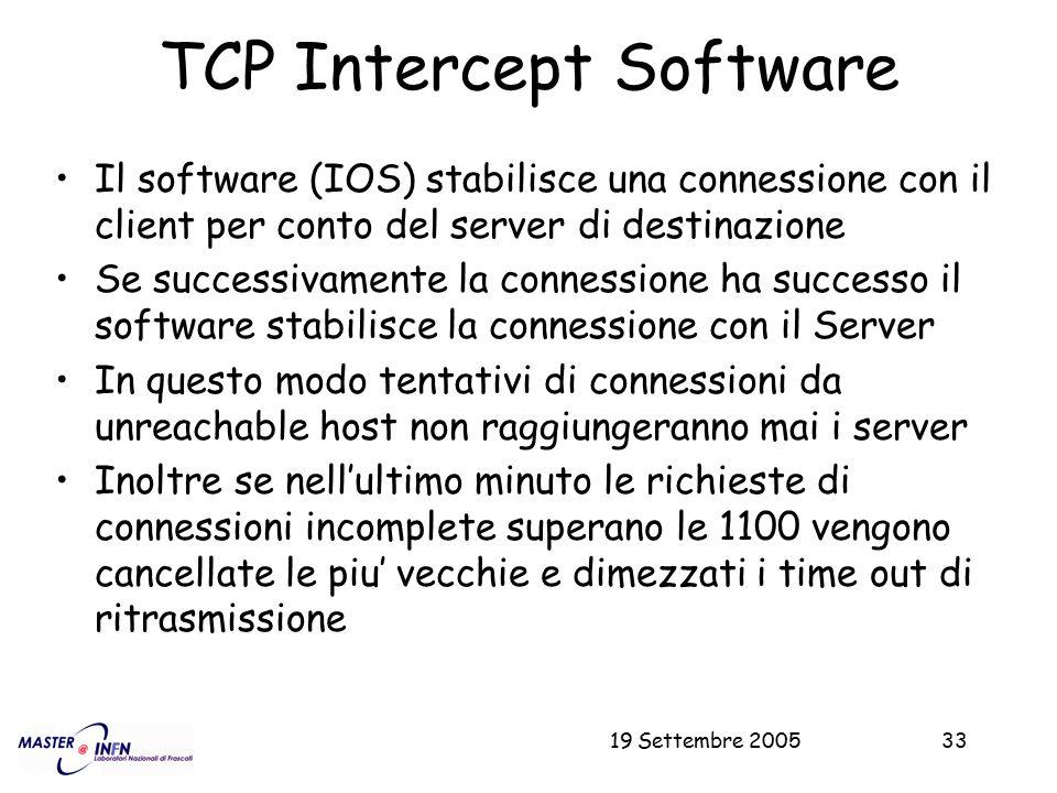 19 Settembre 200533 TCP Intercept Software Il software (IOS) stabilisce una connessione con il client per conto del server di destinazione Se successi