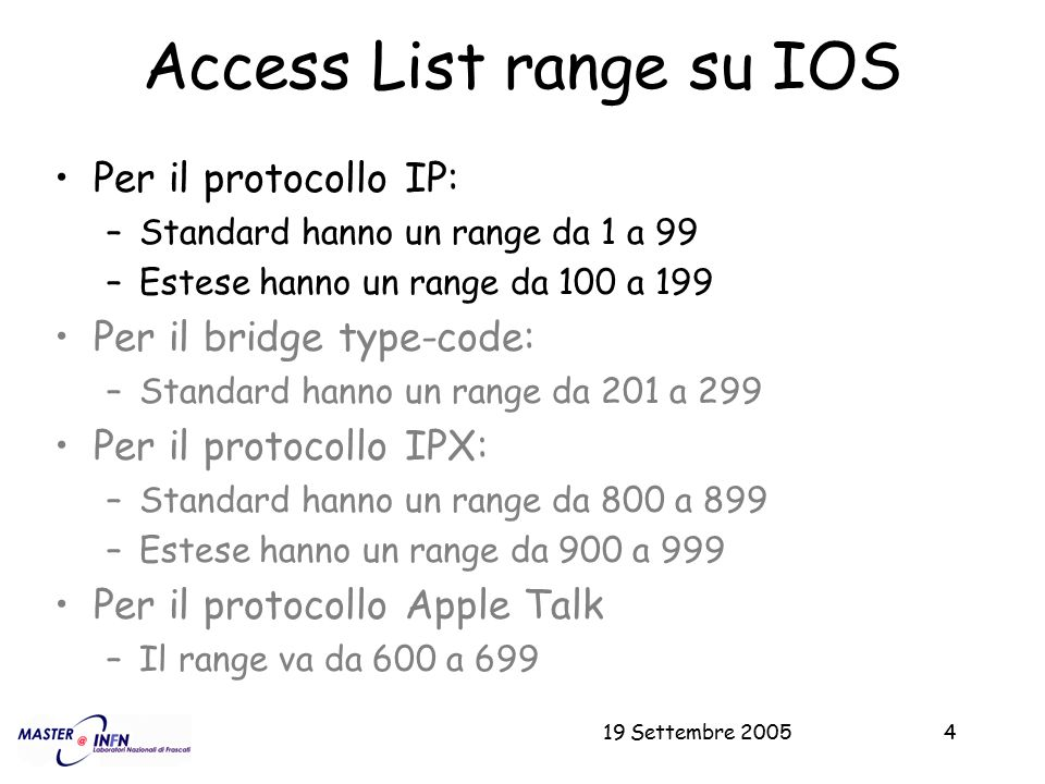 19 Settembre 200535 Esempio ACL per TCP Intercept access-list 104 permit tcp any host eq 22 access-list 104 permit tcp any host eq domain access-list 104 permit tcp any host eq smtp access-list 104 permit tcp any host eq domain access-list 104 permit tcp any host eq smtp access-list 104 permit tcp any host eq www access-list 104 permit tcp any host eq 443 access-list 104 permit tcp any host eq www Etc ….