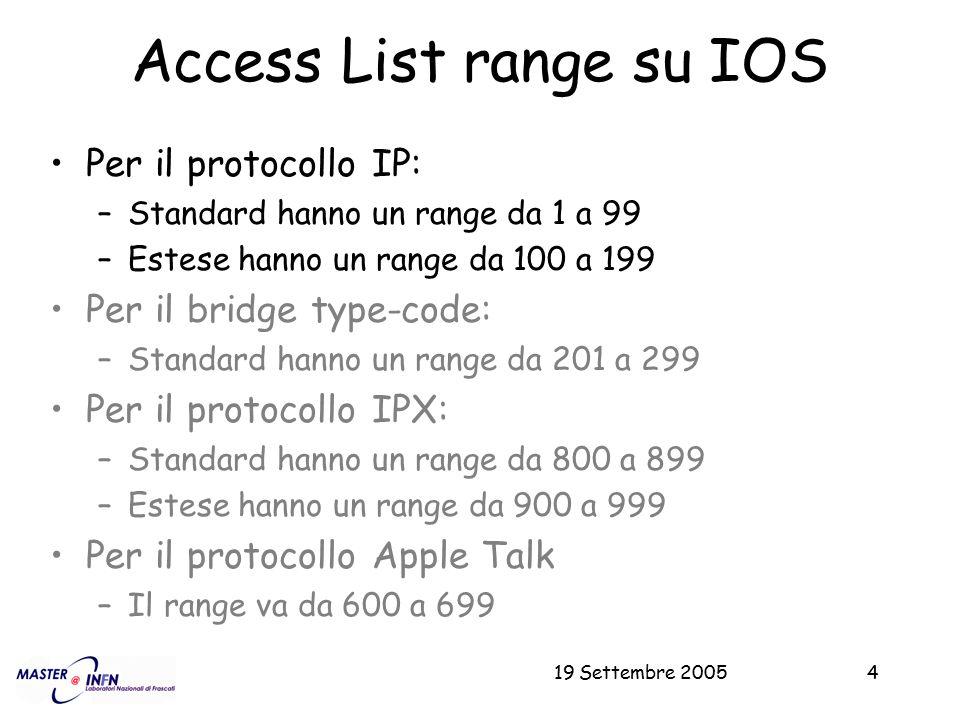 19 Settembre 20054 Access List range su IOS Per il protocollo IP: –Standard hanno un range da 1 a 99 –Estese hanno un range da 100 a 199 Per il bridge