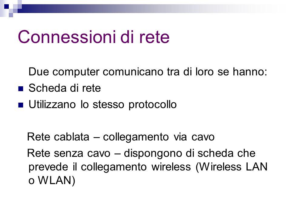 Connessioni di rete Due computer comunicano tra di loro se hanno: Scheda di rete Utilizzano lo stesso protocollo Rete cablata – collegamento via cavo Rete senza cavo – dispongono di scheda che prevede il collegamento wireless (Wireless LAN o WLAN)
