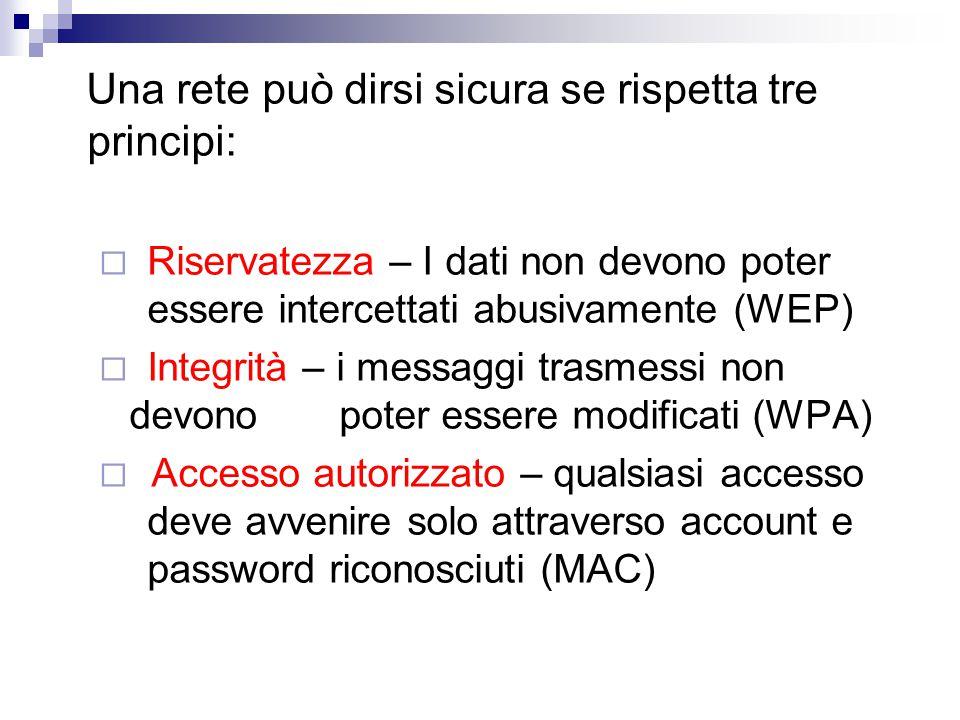 Una rete può dirsi sicura se rispetta tre principi:  Riservatezza – I dati non devono poter essere intercettati abusivamente (WEP)  Integrità – i messaggi trasmessi non devono poter essere modificati (WPA)  Accesso autorizzato – qualsiasi accesso deve avvenire solo attraverso account e password riconosciuti (MAC)