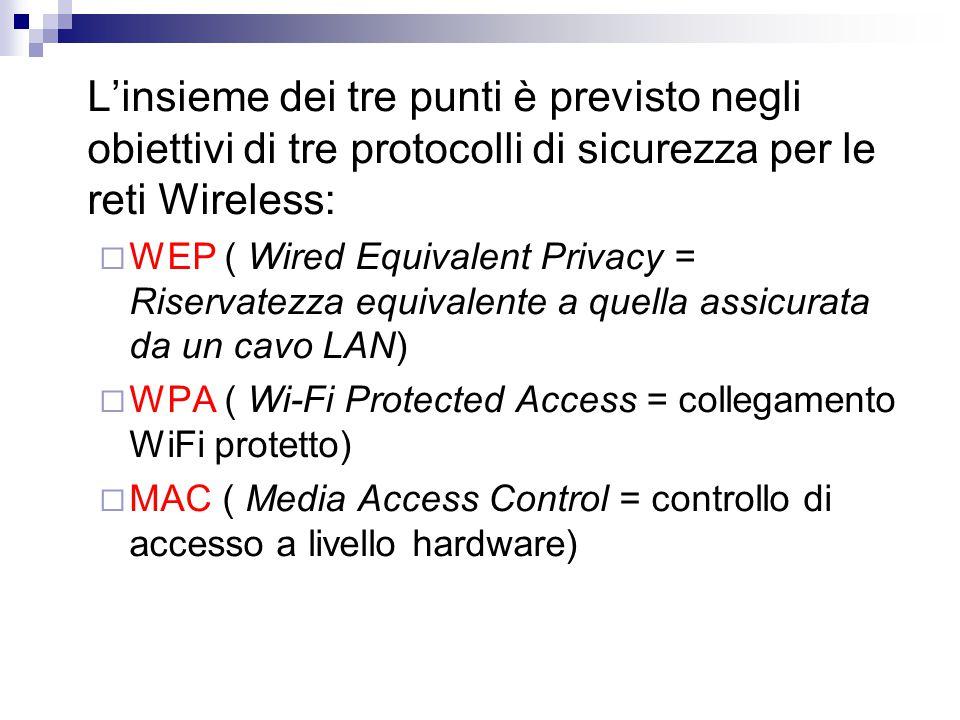 L'insieme dei tre punti è previsto negli obiettivi di tre protocolli di sicurezza per le reti Wireless:  WEP ( Wired Equivalent Privacy = Riservatezza equivalente a quella assicurata da un cavo LAN)  WPA ( Wi-Fi Protected Access = collegamento WiFi protetto)  MAC ( Media Access Control = controllo di accesso a livello hardware)