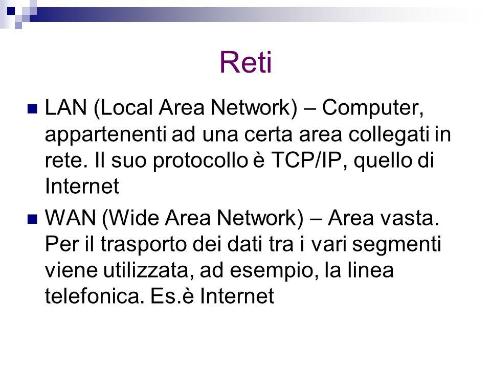 Reti LAN (Local Area Network) – Computer, appartenenti ad una certa area collegati in rete. Il suo protocollo è TCP/IP, quello di Internet WAN (Wide A