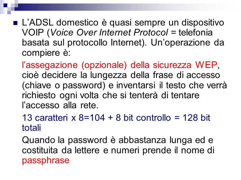 L'ADSL domestico è quasi sempre un dispositivo VOIP (Voice Over Internet Protocol = telefonia basata sul protocollo Internet).