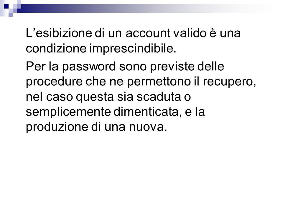 L'esibizione di un account valido è una condizione imprescindibile.