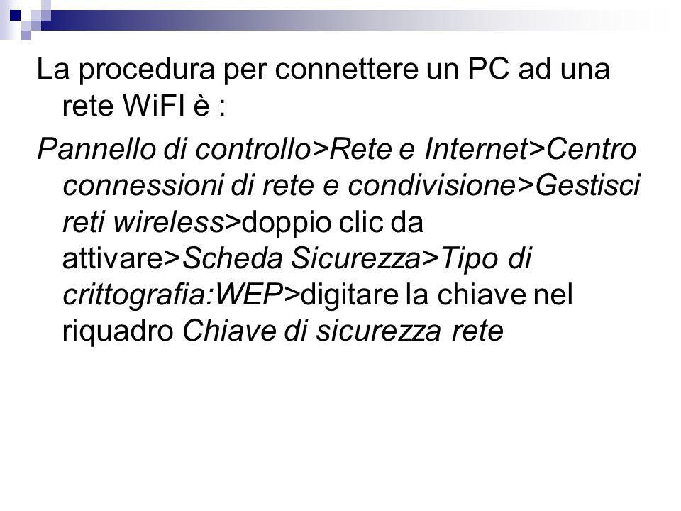 La procedura per connettere un PC ad una rete WiFI è : Pannello di controllo>Rete e Internet>Centro connessioni di rete e condivisione>Gestisci reti wireless>doppio clic da attivare>Scheda Sicurezza>Tipo di crittografia:WEP>digitare la chiave nel riquadro Chiave di sicurezza rete
