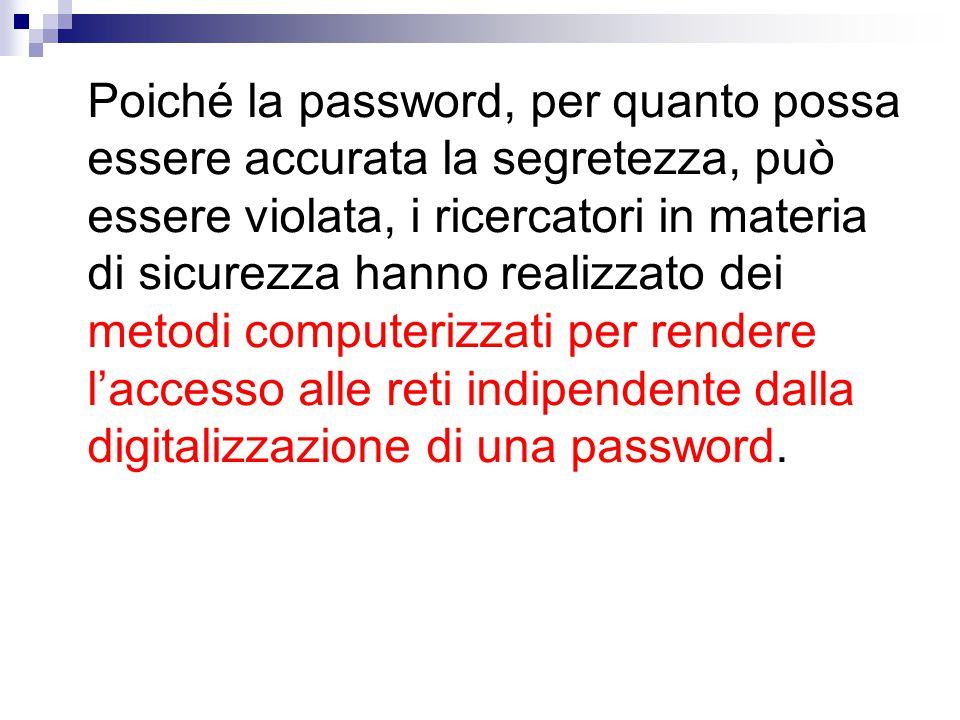 Poiché la password, per quanto possa essere accurata la segretezza, può essere violata, i ricercatori in materia di sicurezza hanno realizzato dei metodi computerizzati per rendere l'accesso alle reti indipendente dalla digitalizzazione di una password.