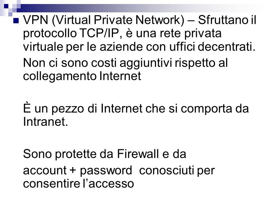 VPN (Virtual Private Network) – Sfruttano il protocollo TCP/IP, è una rete privata virtuale per le aziende con uffici decentrati.