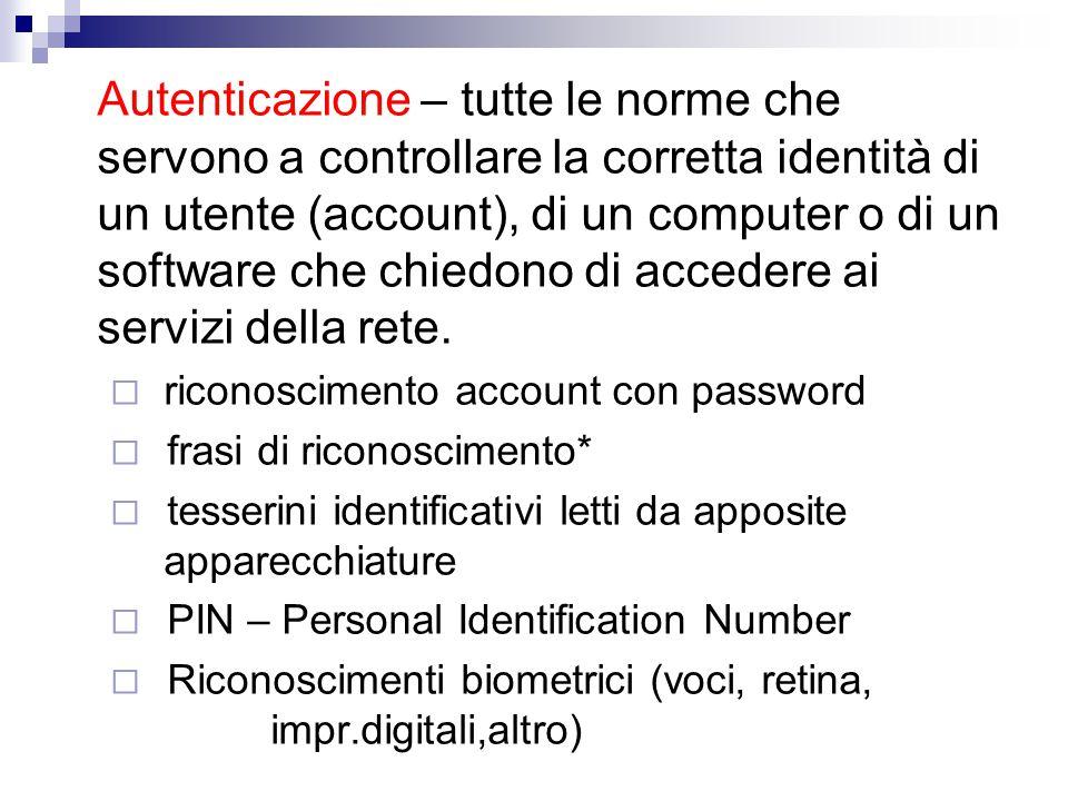 Autenticazione – tutte le norme che servono a controllare la corretta identità di un utente (account), di un computer o di un software che chiedono di accedere ai servizi della rete.