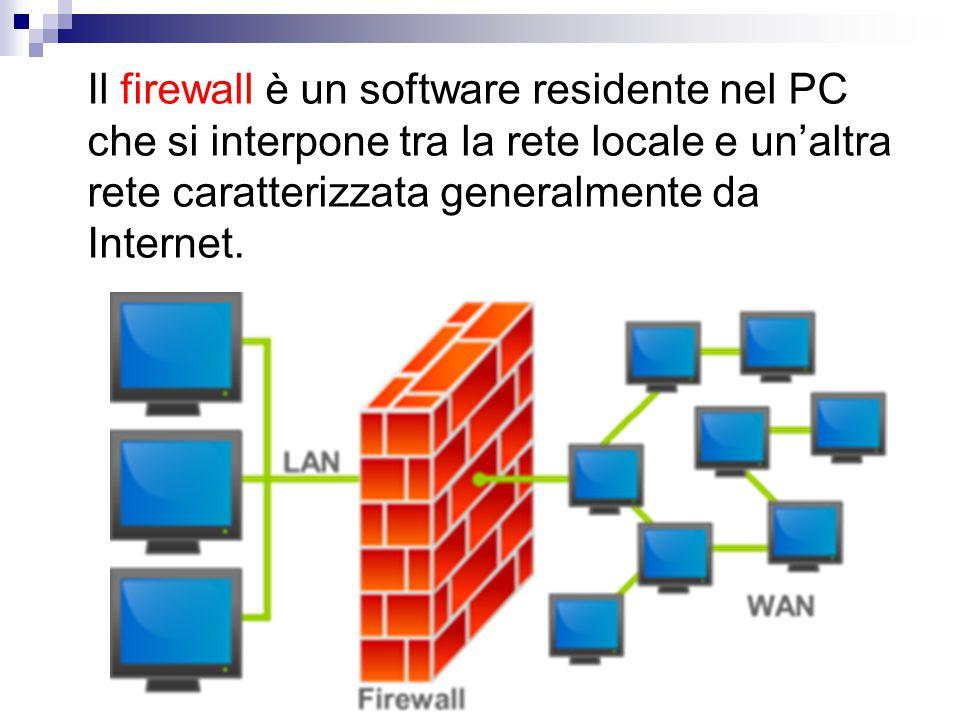 Il firewall è un software residente nel PC che si interpone tra la rete locale e un'altra rete caratterizzata generalmente da Internet.