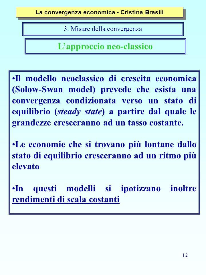 12 L'approccio neo-classico Il modello neoclassico di crescita economica (Solow-Swan model) prevede che esista una convergenza condizionata verso un s