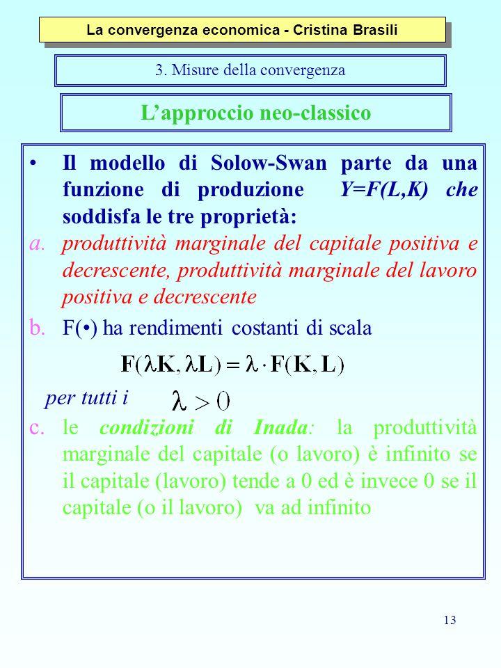 13 L'approccio neo-classico Il modello di Solow-Swan parte da una funzione di produzione Y=F(L,K) che soddisfa le tre proprietà: a. produttività margi