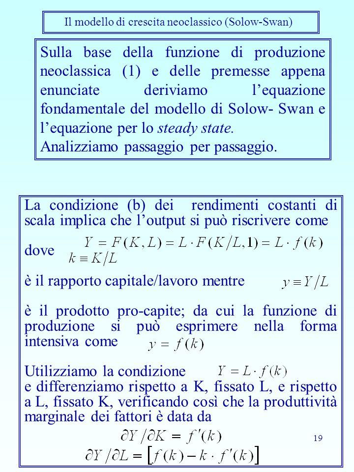 19 Sulla base della funzione di produzione neoclassica (1) e delle premesse appena enunciate deriviamo l'equazione fondamentale del modello di Solow-