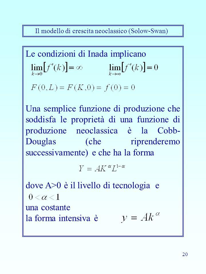 20 Il modello di crescita neoclassico (Solow-Swan) Le condizioni di Inada implicano Una semplice funzione di produzione che soddisfa le proprietà di u