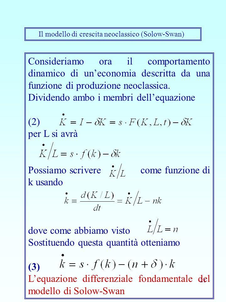 21 Il modello di crescita neoclassico (Solow-Swan) Consideriamo ora il comportamento dinamico di un'economia descritta da una funzione di produzione n